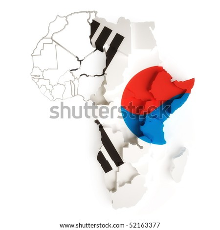 Korean flag on map of Africa with national borders