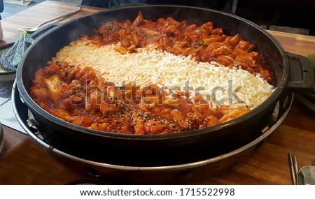 korean food : Dak-galbi, cheese Dak-galbi Spicy Stir-fried Chicken Stockfoto ©