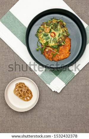 Korean food, korean pancake (Pajeon and Kimchi-jeon).