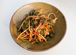 Korean food Seasoned Shepherd's Purse in a dish, South Korea