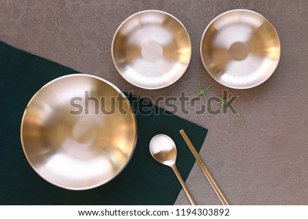 Korean high quality brass tableware. Top view.   Stock photo ©