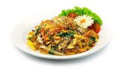 Korean Japchae Stir Fried Vermicelli Noodles with Mixed vegetables Korean Food Style popular dish normally eat on holiday happy New year and Chuseok in Korea decorate with carved Leek and vegetable
