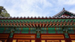 korean palace, korean traditional house, ceiling. Buddhistic temple ceiling ornaments, Donghaksa temple in GongJu, South Korea.