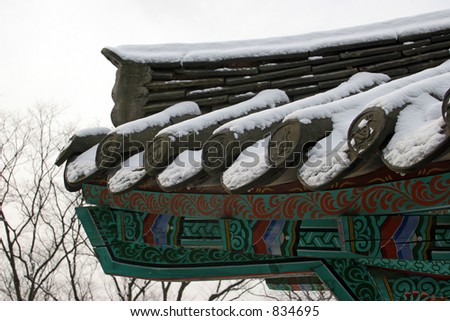 Korean temple roof covered in snow