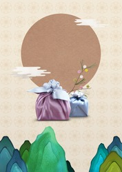 Korean traditional background with gift box package.