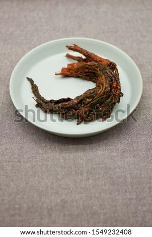 Korean traditional food, Korean Lettuce Kimchi (Godeulppaegi Kimchi).