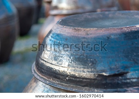Korean traditional jars with a rough and rough surface.