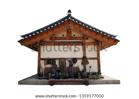 Korean traditional  residence architecture isolated on white background. Traditional wooden architecture. Old traditional Asian building. Traditional Korean house at Folk Village, South Korea.