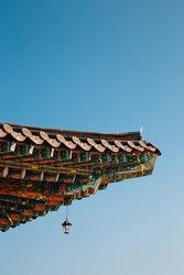 Korean traditional roof eaves at Huhuam temple in Yangyang, Korea