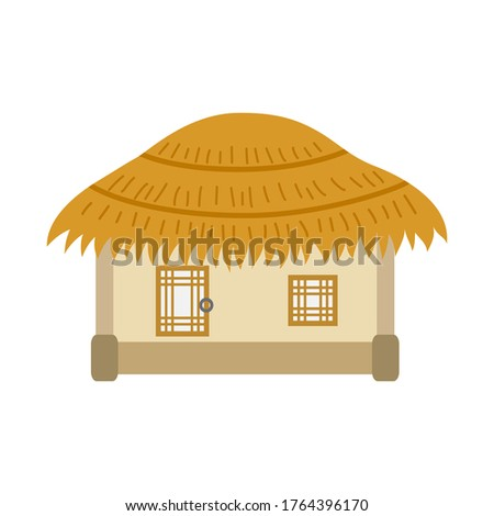 Korean traditional thatched roof house on white background