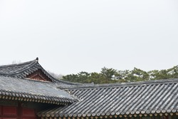 Korean traditional tiled roofs in a palace
