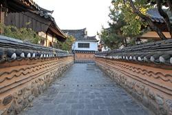 Korean traditional village alley landscape
