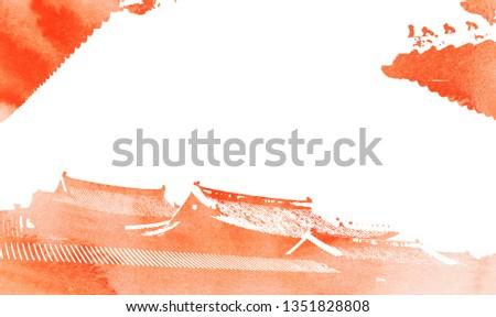 Korean traditional, Watercolor Korean traditional background,Beautiful watercolor painting