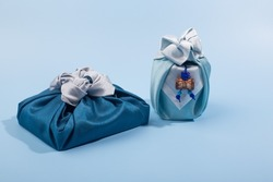 Korean traditional wrapping cloth on the color background. wrapping cloth gift packaging
