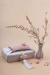 Korean traditional wrapping cloth packaging. furoshiki packaging gift box
