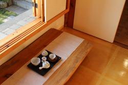Korean traditonal tea ceremony utensil set styled on the wooden table