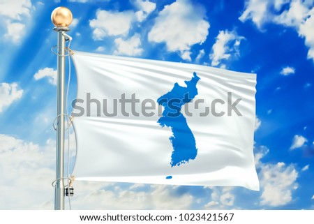 Korean Unification flag waving in blue cloudy sky, 3D rendering Сток-фото ©