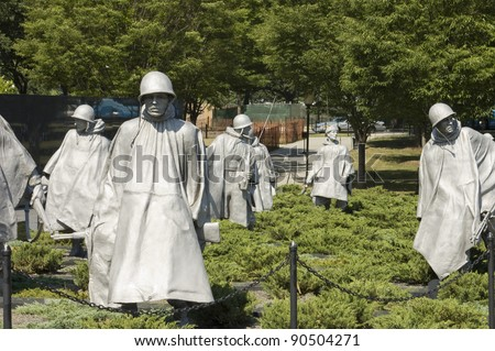 Korean War  Memorial Nineteen  statues  sculpted by Frank Gaylord of Barre, Arlington cemetery, Washington, DC