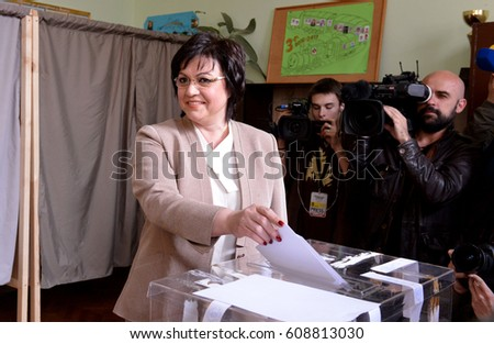 Kornelia Ninova, leader of the Bulgarian Socialist party votes at a polling station in Sofia, Bulgaria, March 26, 2017.