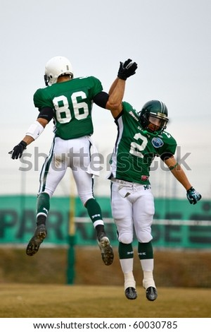 KORNEUBURG, AUSTRIA - MARCH 20: WR Jason Horton (Dragons #86) and WR Joe Widner (Dragons #2) at Danube Dragons beat Beograd Vukovi in a preseason game 30:27 on March 20, 2010 in KORNEUBURG.