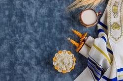 Kosher dairy product for celebration Jewish Holiday Shavuot Torah and kippah