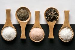 Kosher Salt, Ground Pepper, Himalayan Salt, Peppercorns, and Sea Salt Flakes