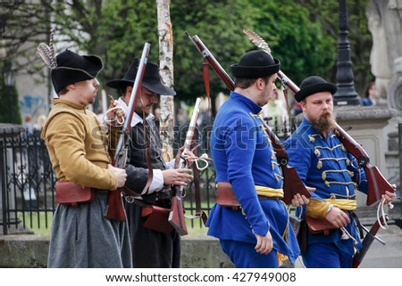 Kosice, Slovakia - May 08, 2016: Musketeers at the city festival #427949008
