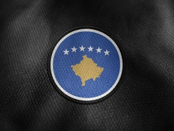 Kosovo flag isolated on black with clipping path. flag symbols of Kosovo. Kosovo flag frame with empty space for your text.