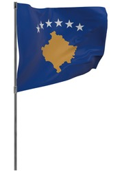 Kosovo flag on pole. Waving banner isolated. National flag of Kosovo