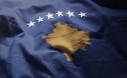 Kosovo Flag Rumpled Close Up