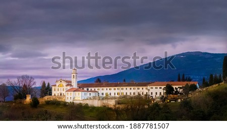 Kostanjevica Church and Monastery on Hill in Nova Gorica.The Tomb in Church Preserves the Remains of the Last Members of the French Royal Family of the Bourbons. Stock photo ©