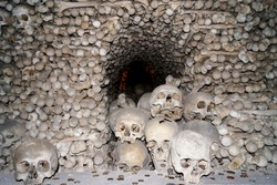 Kostnice Church in Kutna Hora with Ossuary interior decoration from human bones and skulls