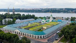 Kostroma, Russia. Historic center of the city of Kostoma. Red rows, Church of the Savior in Ryady, Aerial View