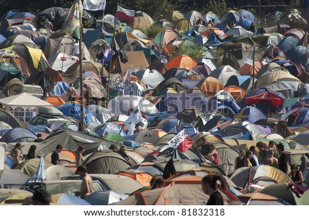 KOSTRZYN, POLAND - AUGUST 02: Tent Camp at Przystanek Woodstock Festival, August 02, 2009. It's the biggest music festival in Europe. - stock photo