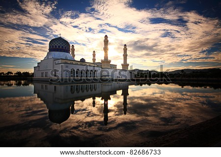 kota kinabalu mosque - stock photo