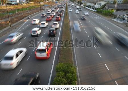Kota Kinabalu,Sabah,MALAYSIA - FEBRUARY 14 2019 ;Road and vehicle moving back from work hours in kota kinabalu #1313162156