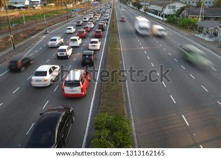Kota Kinabalu,Sabah,MALAYSIA - FEBRUARY 14 2019 ;Road and vehicle moving back from work hours in kota kinabalu #1313162165