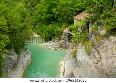 Kotli, Istria, Croatia, Green pool under waterfall surrounded by forest. Old mill Water, stream, river, forest Zdjęcia stock ©