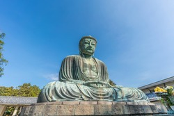 Kotoku-in Buddhist temple, Monumental outdoor bronze statue of of Amida Buddha which is one of the most famous icons of Japan. Known as The Great Buddha (Daibutsu) in Kamakura, Japan