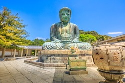 Kotokuin Temple, Kamakura in Kanto region, Japan. The temple is famous for Great Buddha or Daibutsu, a monumental bronze statue of Amida Buddha, one of the most famous icons of Japan.
