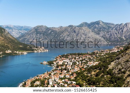 Kotor bay view in Montenegro, summer time. Kotor town and the bay. Kotor bay view.