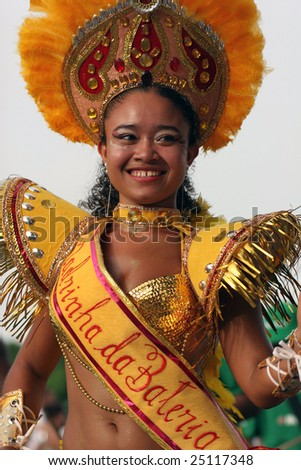 KOUROU, FRENCH GUIANA - FEBRUARY 15: this Brazilian dancer participates in the main carnival parade February 15, 2009 in Kourou, French Guiana.