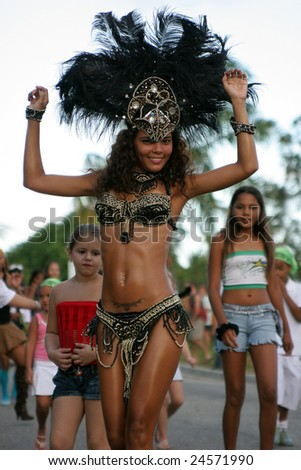 KOUROU, FRENCH GUIANA - FEBRUARY 04: this woman participates in a carnival parade February 04, 2007 in Kourou, French Guiana.