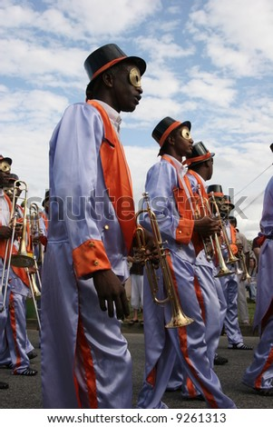 KOUROU, FRENCH GUIANA - JANUARY 28: this group participates in the main carnival parade January 28, 2008 in Kourou, French Guiana.