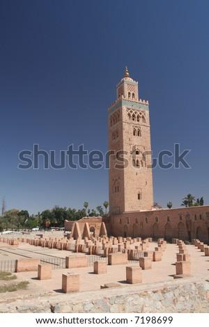 Koutoubia mosque in Marrakesh next to Djemaa el Fna place