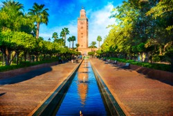 Koutoubia Mosque minaret at medina quarter of Marrakesh, Morocco