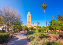 Koutoubia Mosque minaret located at medina quarter of Marrakesh, Morocco