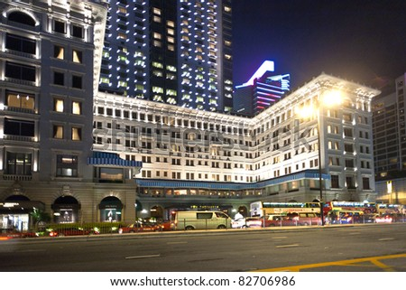 KOWLOON, HONKGONG - JANUARY 9: Hong Kong famous luxury Hotel Peninsula by night on  January 09,2010 Kowloon, Hongkong. Opened 1928 in colonial style.