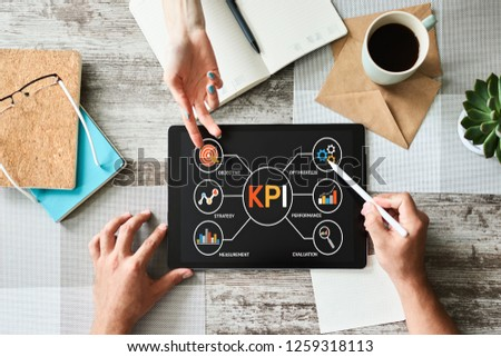 KPI Key Performance Indicator. Industrial Manufacturing Business Marketing Strategy Concept.