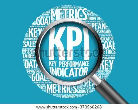 KPI - Key Performance Indicator word cloud with magnifying glass, business concept
